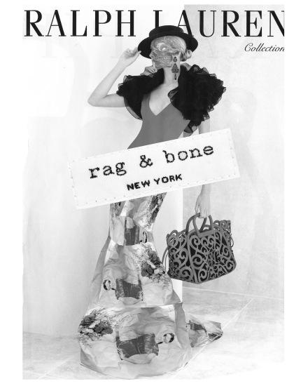 Model from scanned magazine ad. Added skull. Made skirt from magazine ad. Added rag & bone label.
